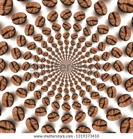 Psychedelic coffee bean optical spin illusion background. Illusion of motion effect image. #1319373410
