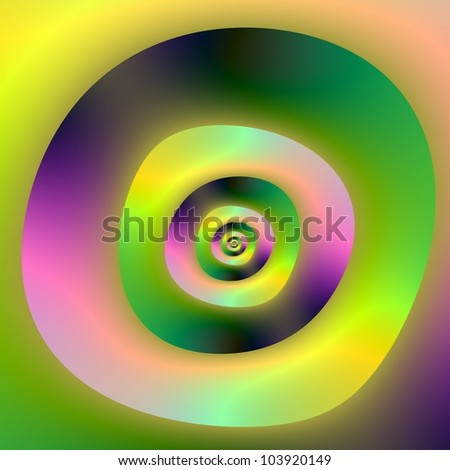 Psychedelic Dough-nuts/Digital abstract psychedelic image with a irregular concentric ring design in pink, green and yellow.