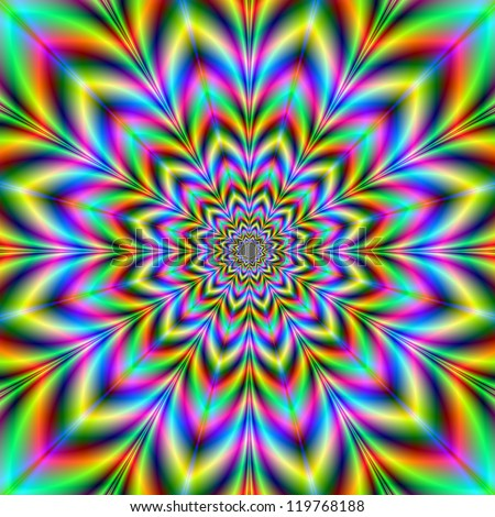 Psychedelic Flower/A digital abstract image with a psychedelic flower design in yellow, blue, green, red and pink.