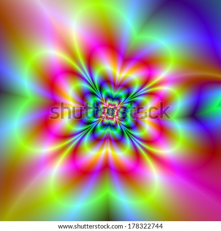 Psychedelic Four Leaf Clover / Digital abstract fractal image with a psychedelic four leaf clover design in pink, green, blue and yellow.