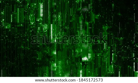 Psychedelic green HUD interface 3D Illustration with abstract digital code. Concept glitch background as cyberpunk computer meltdown overlay with fragments and hex code of alien communication decrypti Foto stock ©
