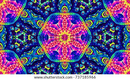 Psychedelic ornament. Bright neon forms. Ultraviolet illustration. Abstract glowing pattern. Indian, Korean, Arabic ornament.