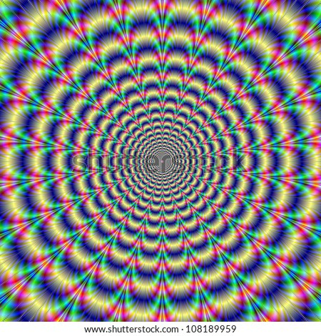 Psychedelic Pulse/Digital abstract image with a psychedelic circular pattern of blue red yellow green and purple producing an optical illusion of movement.