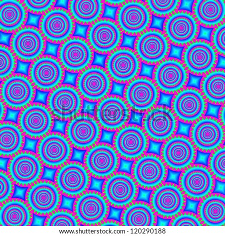 Psychedelic retro background - mandala, 60s or 70s style