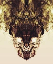 Psychedelic smoke reflections form a creepy symmetrical skull face. A dark, burning, smokey, freaky demon.