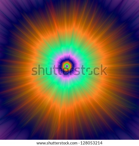 Psychedelic Super Nova/Digital abstract fractal image with a psychedelic super nova design in green, blue and orange.