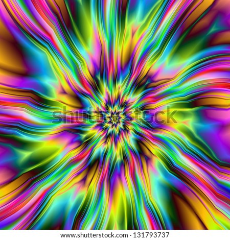 Psychedelic Supernova / Digital abstract fractal image with an explosion of color design in blue, green, pink and yellow.