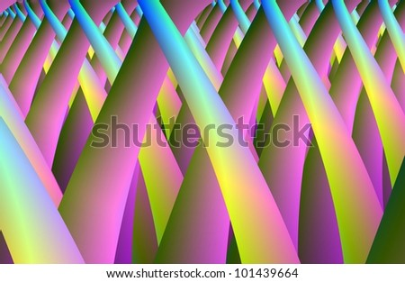 Psychedelic Villi - Digital abstract image in yellow green and pink.