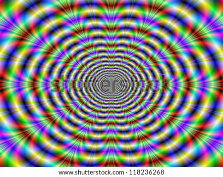Psychedelic Worm Hole/Abstract fractal design with an optical illusion of movement in yellow red and blue.