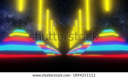 Psychedelics Pyramids Trippy Colorful Shooting Energy Beam To Night Sky Calling Galactic Federation Trippy Rainbow Galaxy Universe Stockfoto ©