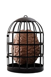 Psychiatry and psychology, helpless mind and hopeless mental state, consciousness and depression conceptual idea with a human brain in a dark cage isolated on white background