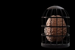 Psychiatry and psychology, helpless mind and hopeless mental state, consciousness and depression conceptual idea with a human brain in a dark cage isolated on black background with copyspace