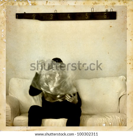 Psychic medium with ectoplasm antique style photo composite. Spirit photography.