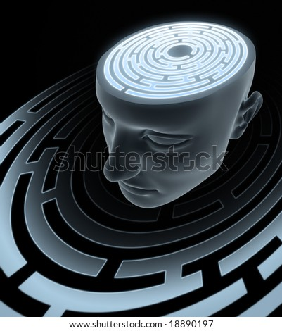 Psychic Mind. Labyrinth inside of the head. Concept of confusing, lost, find way, etc.