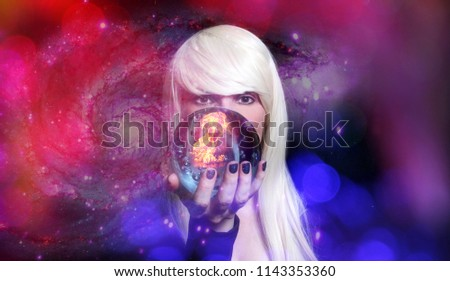 Psychic with Blond hair and Crystal Ball Space Galaxy Background