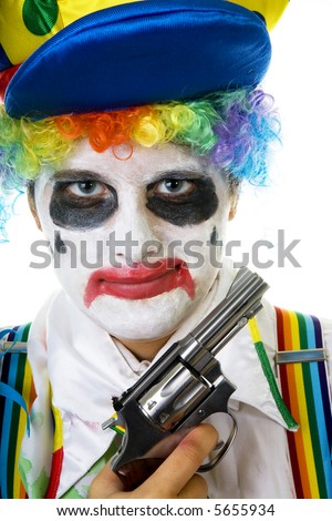 Psycho killer clown with gun isolated on white