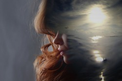 Psychoanalysis and meditation, concept. Profile of a young woman and sunset over the ocean, calm and mental health. Image with double exposure effect. The subconscious and how the brain works.