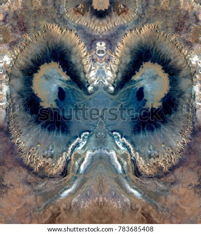 psychograph of the rapist, Tribute to Dalí, abstract symmetrical vertical photograph of the deserts of Africa from the air, aerial view, abstract surrealism, mirror effect, symmetry, kaleidoscopic