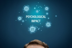 Psychological impact of reading news and reports about covid-19 concept. Psychologist think how covid-19 epidemic and excessive consumption of media influence mental health.