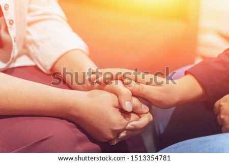 Psychologist consulting concept. Doctor consult in psychotherapy session or counsel diagnosis mental health of female patient, toned