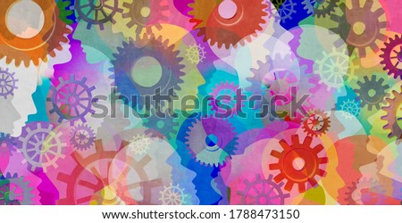 Psychology background and schizophrenia psychiatric disease as a psychiatry and mental health concept for human abnormal personality behaviour and mood disorder with 3D illustration elements. Сток-фото ©