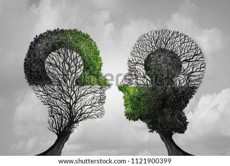 Psychology concept and psychiatry idea as a symbol for psychologist therapy and constructive thinking puzzle meeting in a 3D illustration style.