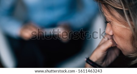 Psychotherapy Treatment for Depression Disorder, Mental Health Patient in Session Сток-фото ©