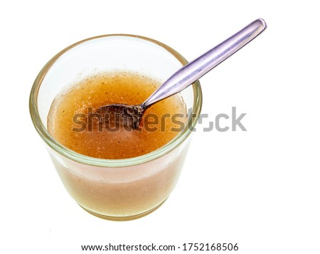Psyllium Gel is obtained by mixing Psyllium Husk Powder with water. Psyllium is a form of fiber made from the husks of the plantago ovata plant seeds and commonly known as a laxative Stock photo ©