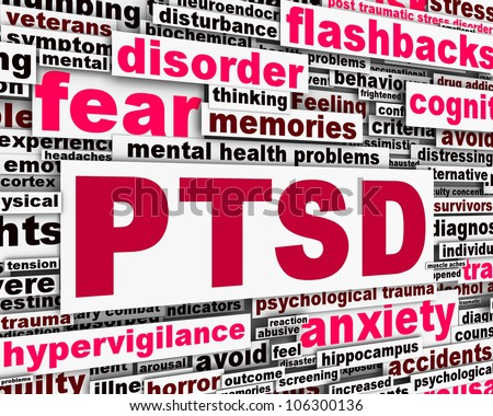 PTSD message conceptual design. Mental health anxiety disorder
