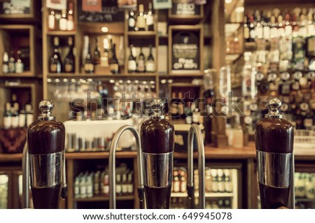 pub interior with beer taps and ...