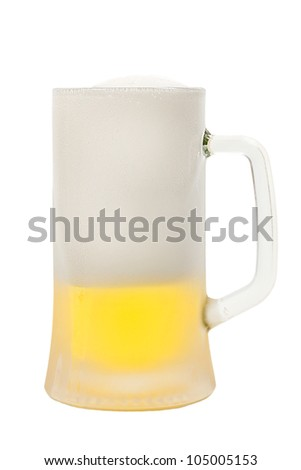 Pub mug of beer isolated on white background