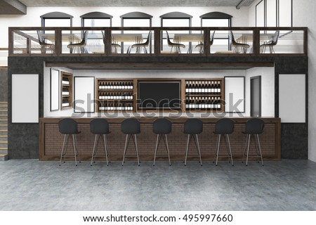 Pub with bar table, two floors, posters on white walls and rows of bottles with alcohol on shelves. Concept of partying. Mock up. 3d rendering