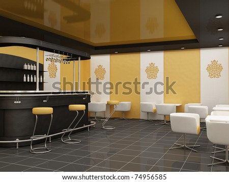 public architecture. dining room.Construction of a ceiling at Restaurant. bar with standing chair and tables with armchairs in modern interior. Decorative ornament of the wall