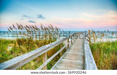 Public Beach access on Kure Beach on North Carolina's Atlantic coast. Stock photo ©