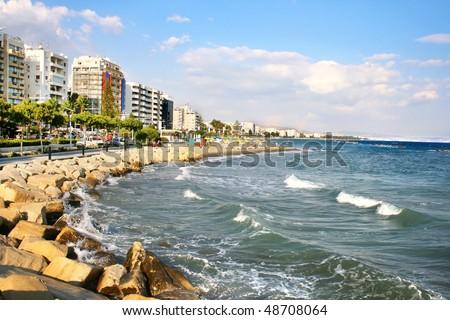 Public beach in Limassol, Cyprus.