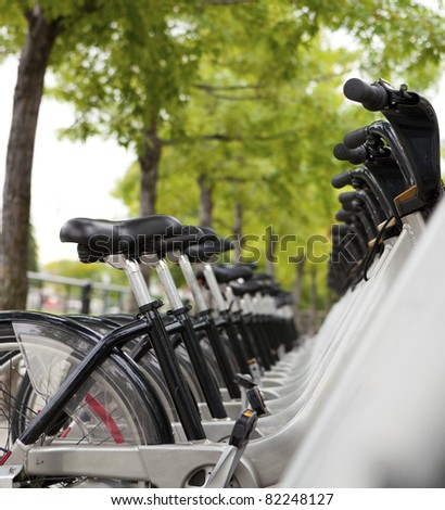 Public Bicycles for rent at a docking station