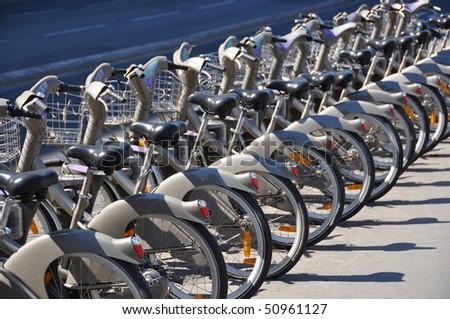 public bike rental station in paris stock photo 50961127 shutterstock. Black Bedroom Furniture Sets. Home Design Ideas