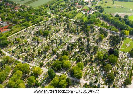 Public Cemetery in Erd city. Aerial view in Hungary.  Stock fotó ©