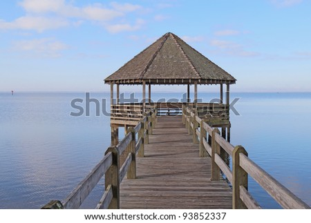 Public gazebo and dock over Whale Head Bay off of Currituck Sound on the Outer Banks near Corolla, North Carolina