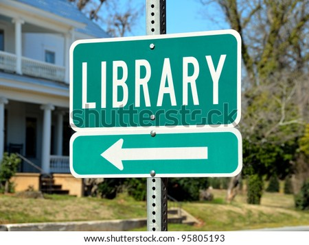 Public library road sign at a community rural Georgia, USA.