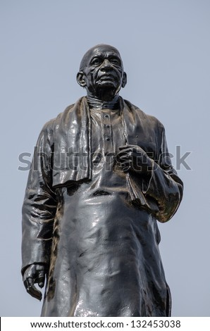 Public monument of Sardar Vallabhbhai Patel (1875 - 1950) beside a main road in Hyderabad, India.  The barrister was an architect of the Indian republic and established the country's civil service.
