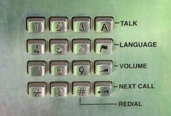 public phone vintage chrome pad with symbols