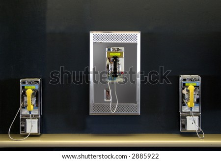 Public phones in the airport - stock photo