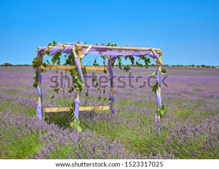Public photographic stage to take selfies pictures in a lavender field during july lavender festival near the medieval town of Brihuega, Guadalajara, Alcarria, Castilla la Mancha, Spain