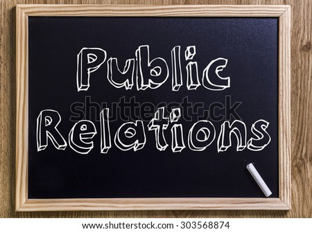 Public Relations - New chalkboard with 3D outlined text - on wood