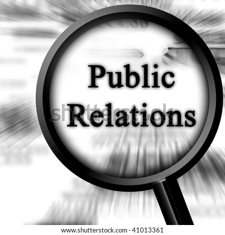 public relations on a white background with a magnifier - stock photo
