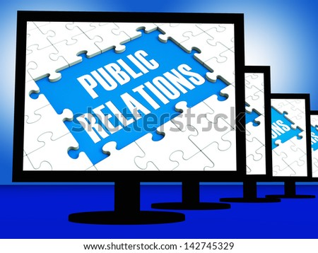 Public Relations On Monitors Shows News And Public Announcements
