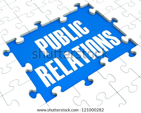 Public Relations Puzzle Shows Publicity, Press And Media
