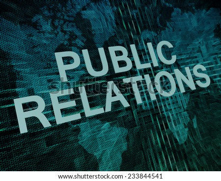Public Relations text concept on green digital world map background