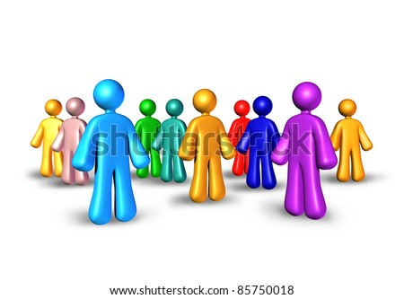 Public relations with business partners network for marketing and referrals to build relationships and make new contacts represented by a group of people gathered together as a community.